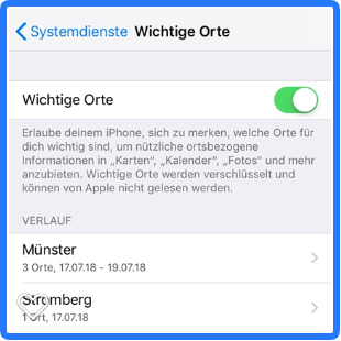 Apple iOS – Wichtige Orte – Die versteckte Standortkarte