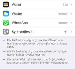 Ortungsdienste iOS - Versteckte Standortfunktion