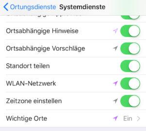 Versteckte Standortfunktion - Ortungsdienste