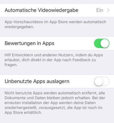 Apple iOS: In-App-Bewertungen deaktivieren