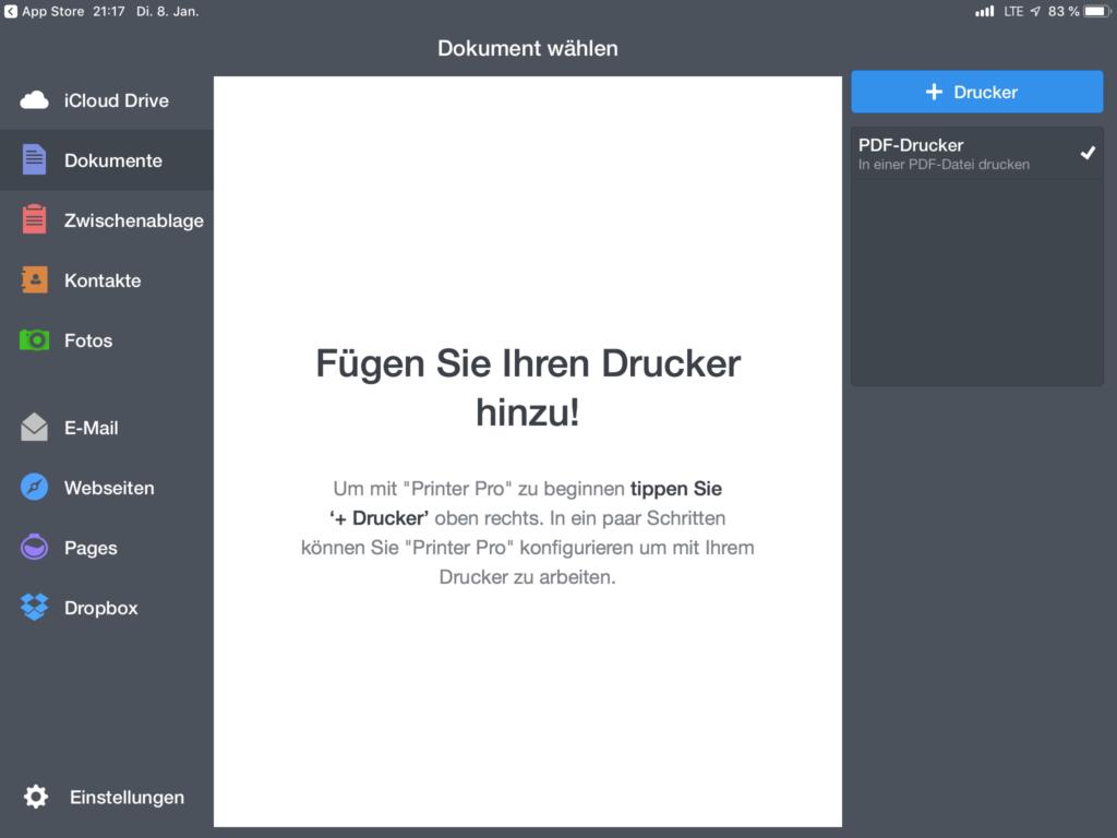 Printer Pro - Startbildschirm
