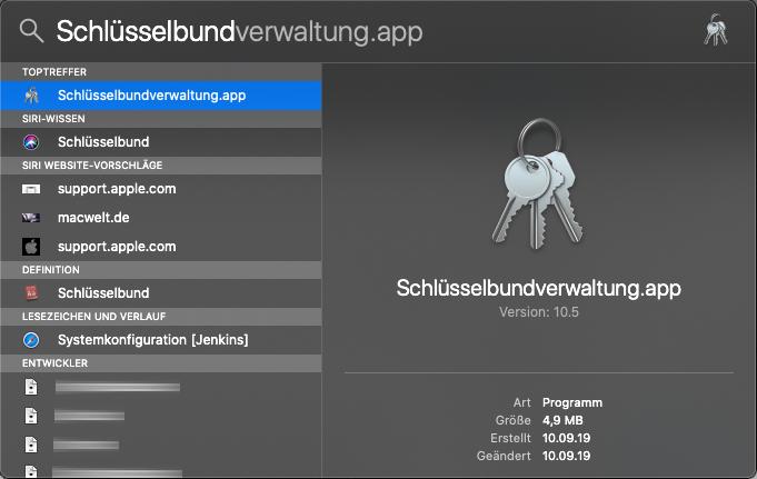 Schlüsselbundverwaltung - Ein Netzwerkpasswort aus dem Schlüsselbund löschen