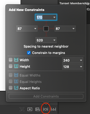 Xcode-Add New Constraints