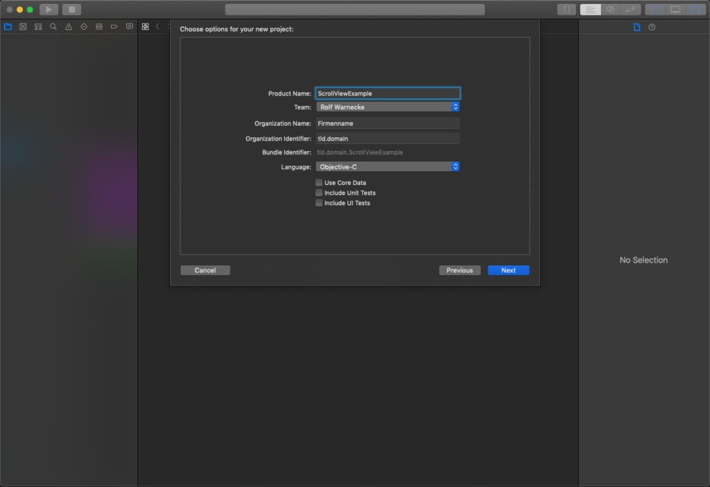 Xcode-Project Options - UIScrollView Aufbau mit Constraints