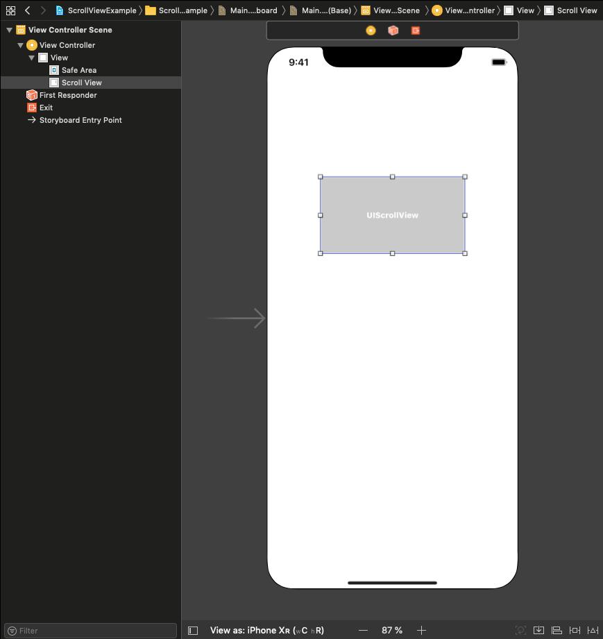 Xcode-Storyboard - UIScrollView Aufbau mit Constraints
