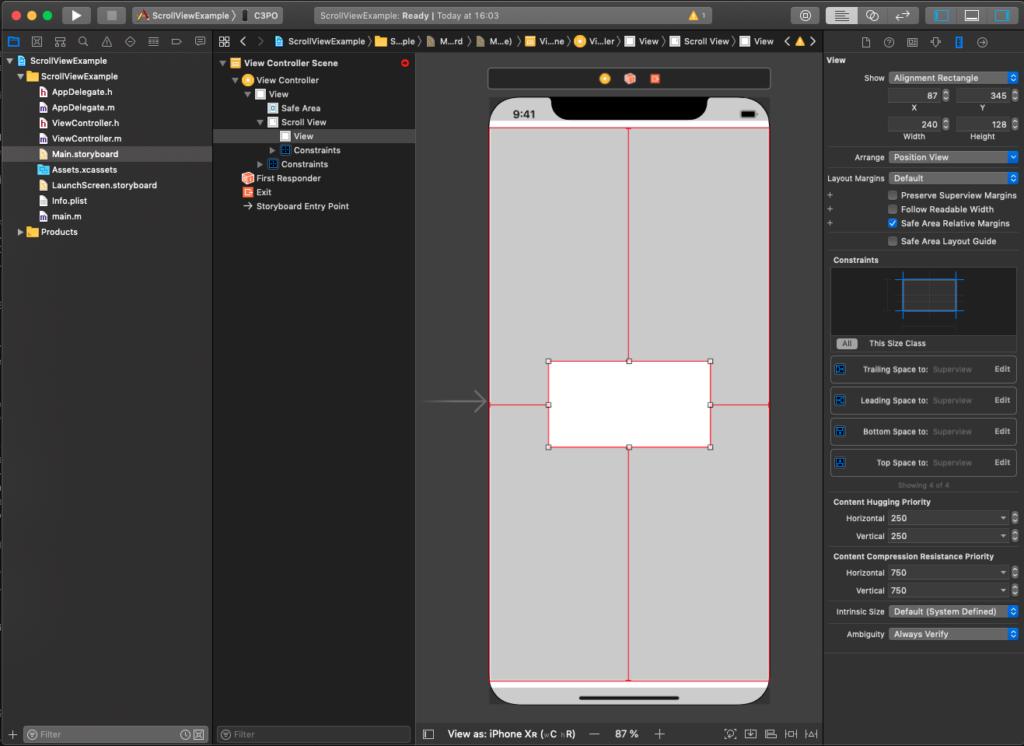 Xcode-Storyboard UIScrollView mit UIView - UIScrollView Aufbau mit Constraints