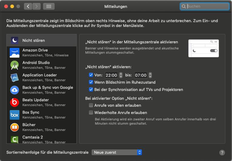 Systemeinstellungen Mitteilungen - Lokale Push Notifications